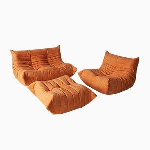 Set da salotto vintage arancione di Michel Ducaroy per Ligne Roset, anni '70, set di 3