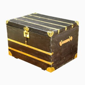 Antique Black Trunk with Inlaid Brass