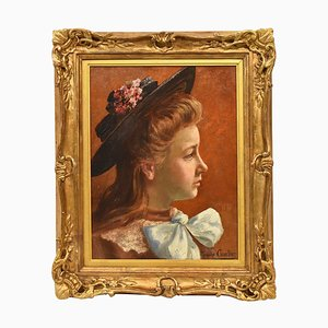 Antique Painting, Portrait of a Young Woman, 20th-Century, Oil on Canvas