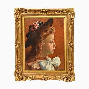Pittura antica raffigurante una giovane donna, XX secolo, olio su tela
