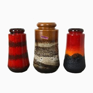 Vintage 595 Fat Lava Vases from Scheurich, Set of 3