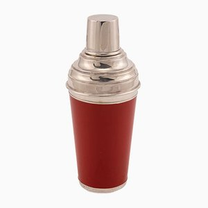 Red Enamelled Cocktail Shaker on Silver Plate from Asprey, 1980s