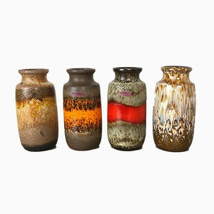 Vintage 213-20 Fat Lava Vases from Scheurich, Set of 4