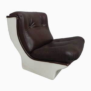 Airborne Lounge Chair with Leather Upholstery and Fibreglass Shell, 1960s