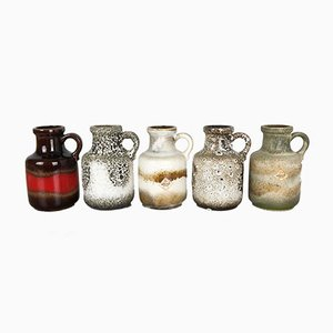 Vintage 414-16 Fat Lava Vases from Scheurich, Set of 5