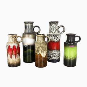 Vases Fat Lava 401 Vintage de Scheurich, Set de 5