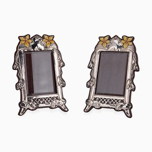 20th-Century Edwardian Solid Silver & Enamel Photo Frames, 1900s, Set of 2