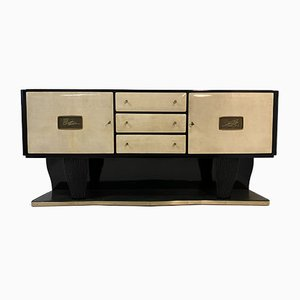 Italian Parchment, Marble and Bronze Sideboard, 1940s