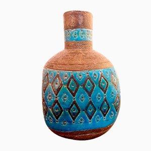 Glasierte Vintage Steingut Vase von Aldo Londi für Bitossi