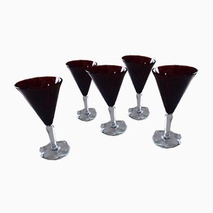 Dark Red Glasses from Verrerie de Biot, 1960s, Set of 5