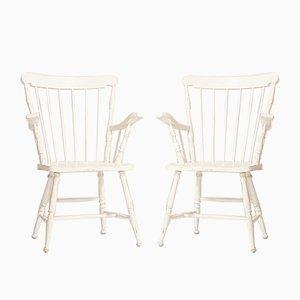 Scandinavian White Wooden Chair, 1950s