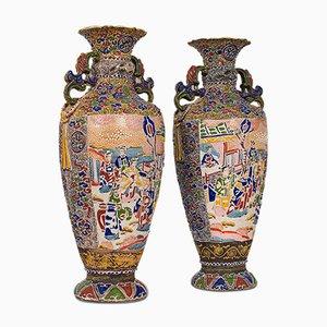 Antike Keramik Satsuma Vasen, 2er Set