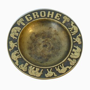 Bronze Ashtray in Brass with Elephant, Ostrich, Dromedary and Palm Tree from Grohe, 1950s