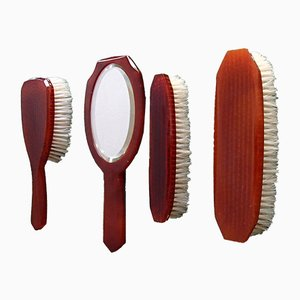Bakelite Barber Set with Mirror, Hairbrush and Two Clothes Brushes, 1950s, Set of 4