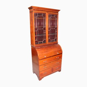 Antique Large Mahogany Cylinder Bureau Bookcase with Key, 1900s