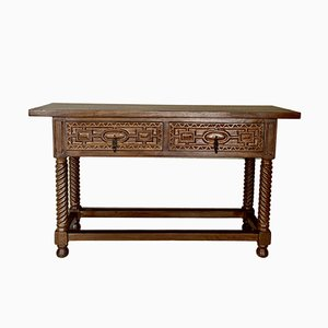 19th Century Spanish Iron and Carved Walnut Console Table