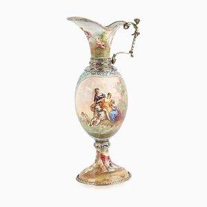 Austrian Solid Silver & Enamel Ewer by Hermann Bohm, 1880s