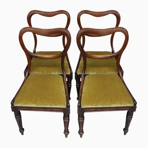 Mahogany Dining Chairs, 1940s, Set of 4