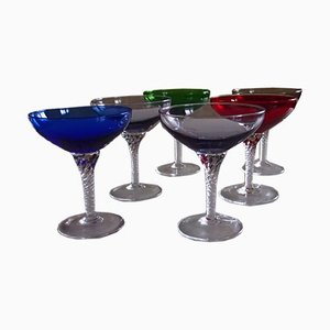 Mid-Century Murano Glass Colored Glasses, Set of 6