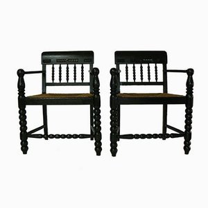 German Oak Easy Chairs, Set of 2