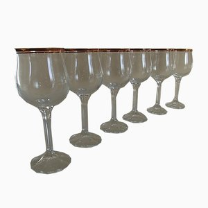 Crystal Wine Glasses with Gold Rim, 1960s, Set of 6