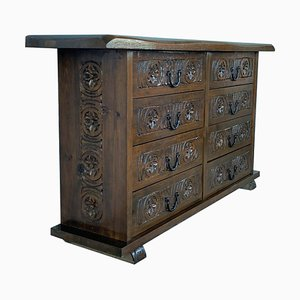 Antique Spanish Catalan Carved Walnut Chest of Drawers