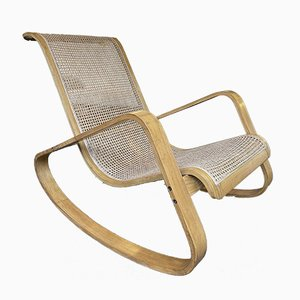 Italian Wood and Cane Rocking Chair by Luigi Crassevig, 1970s