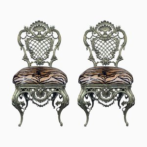 French Bronze Side Chairs, 1920s, Set of 2