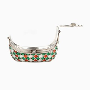 Russian Gem Set Solid Silver & Enamel Kovsh by Anders Nevalainen for Faberge
