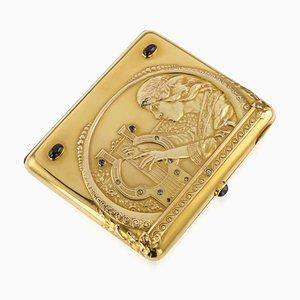 Antiker Russian Fabergé 14K Gold & Gem Set Zigarettenetui von Faberge