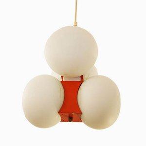 Plafonnier Mid-Century avec Globes en Verre Opalin