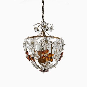 Italian Murano Glass Chandelier with Flowers, 1950s