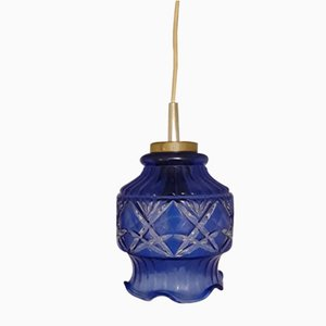 Blue Patterned Glass Ceiling Lamp, 1970s