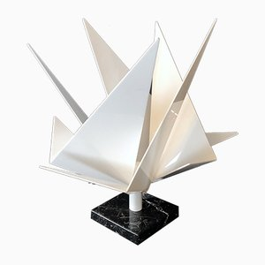 Italian Sculptural Plexiglass and Marble Table Lamp, 1970s
