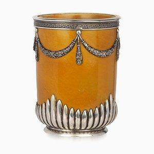 Antike russische Vase aus Massivem Silber & Porzellan von Grachev Brothers