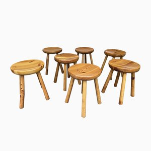French Pine Stool attributed to Charlotte Perriand, 1960s