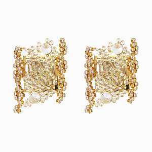 Golden Gilded Brass and Crystal Sconce from Palwa, Germany, 1960s, Set of 2