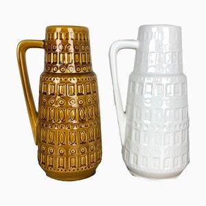 Vintage Keramikvasen mit Fat Lava Glasur von Scheurich, 2er Set