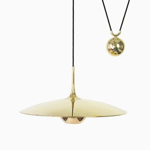 Large Adjustable Brass Counterweight Pendant Light by Florian Schulz, Germany, 1970s