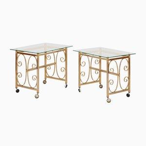 Tavolini da caffè in metallo dorato e vetro, anni '70, set di 2