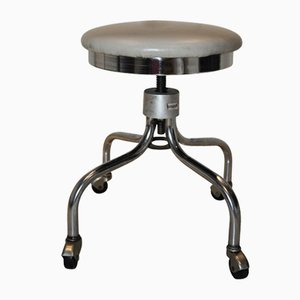 Vintage Revolving Industrial Stool with A Chrome Steel Frame from Brandt, 1970s