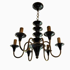 French Lacquered Steel & Brass Chandelier