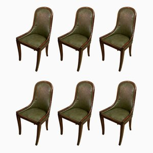 Mahogany and Leather Lounge Chairs, 1920s, Set of 6