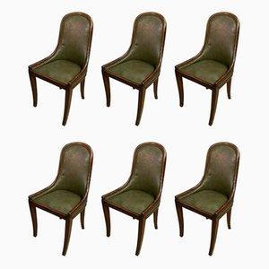 Sessel aus Mahagoni & Leder, 1920er, 6er Set