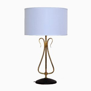 Mid-Century Table Lamp in Solid Brass from Arlus, France, 1950s