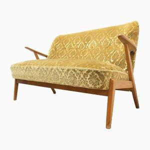 Mid-Century Swedish Velvet & Beech Frame Sofa, 1950s