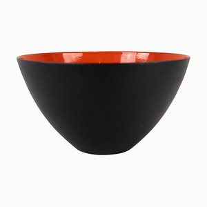 Black Metal and Red Enamel Krenit Bowl by Herbert Krenchel, 1960s