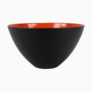 Krenit Schale aus Schwarzem Metall und Rotem Emaille von Herbert Krenchel, 1960er