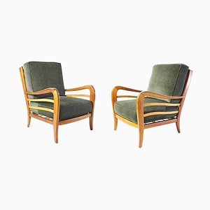 Mid-Century Armchairs in Cherry and Maple by Paolo Buffa, Italy, Set of 2
