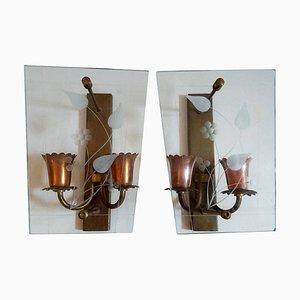Italienische Mid-Century Glas & Kupfer Wandlampen, 2er Set